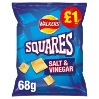 WALKERS SQUARES SALT & VINEGAR SNACKS, 68g