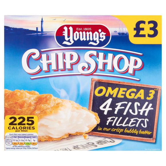 YOUNGS CHIP SHOP FISH FILLETS IN BATTER, pack of 4