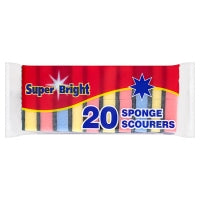 SUPERBRIGHT SPONGE SCOURERS, pack of 20