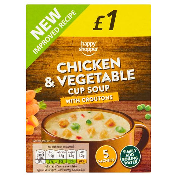 HAPPY SHOPPER CHICKEN & VEGETABLE CUP SOUP, 5 x 22g