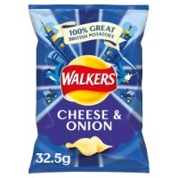 WALKERS CHEESE & ONION CRISPS, 32.5g