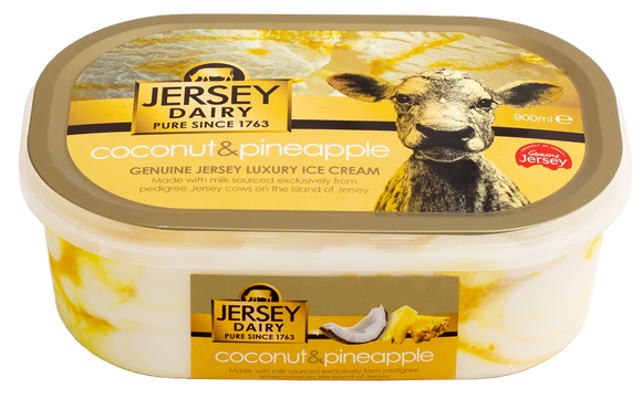JERSEY DAIRY COCONUT & PINEAPPLE ICE CREAM, 900ml
