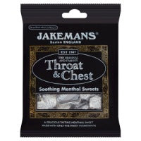 JAKEMANS THROAT & CHEST MENTHOL SWEETS, 100g