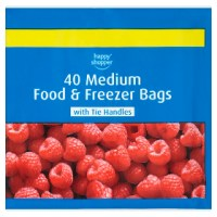 HAPPY SHOPPER FREEZER BAGS MEDIUM, 40 pack