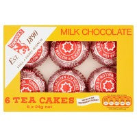 TUNNOCK MILK CHOCOLATE TEACAKES, 6 x 24g