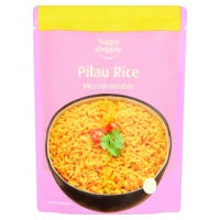HAPPY SHOPPER MICROWAVABLE PILAU RICE, 250g