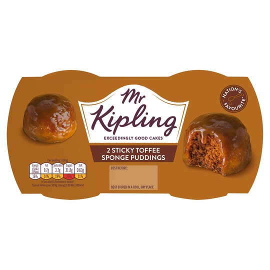 MR KIPLING STICKY TOFFEE PUDDINGS, 2 pack