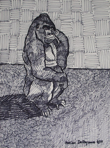 "#Gorilla, 18""x24"", permanent marker #art #drawing"