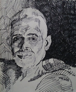 "#portrait #drawing #RamanaMaharshi, 14""x17"", permanent marker"