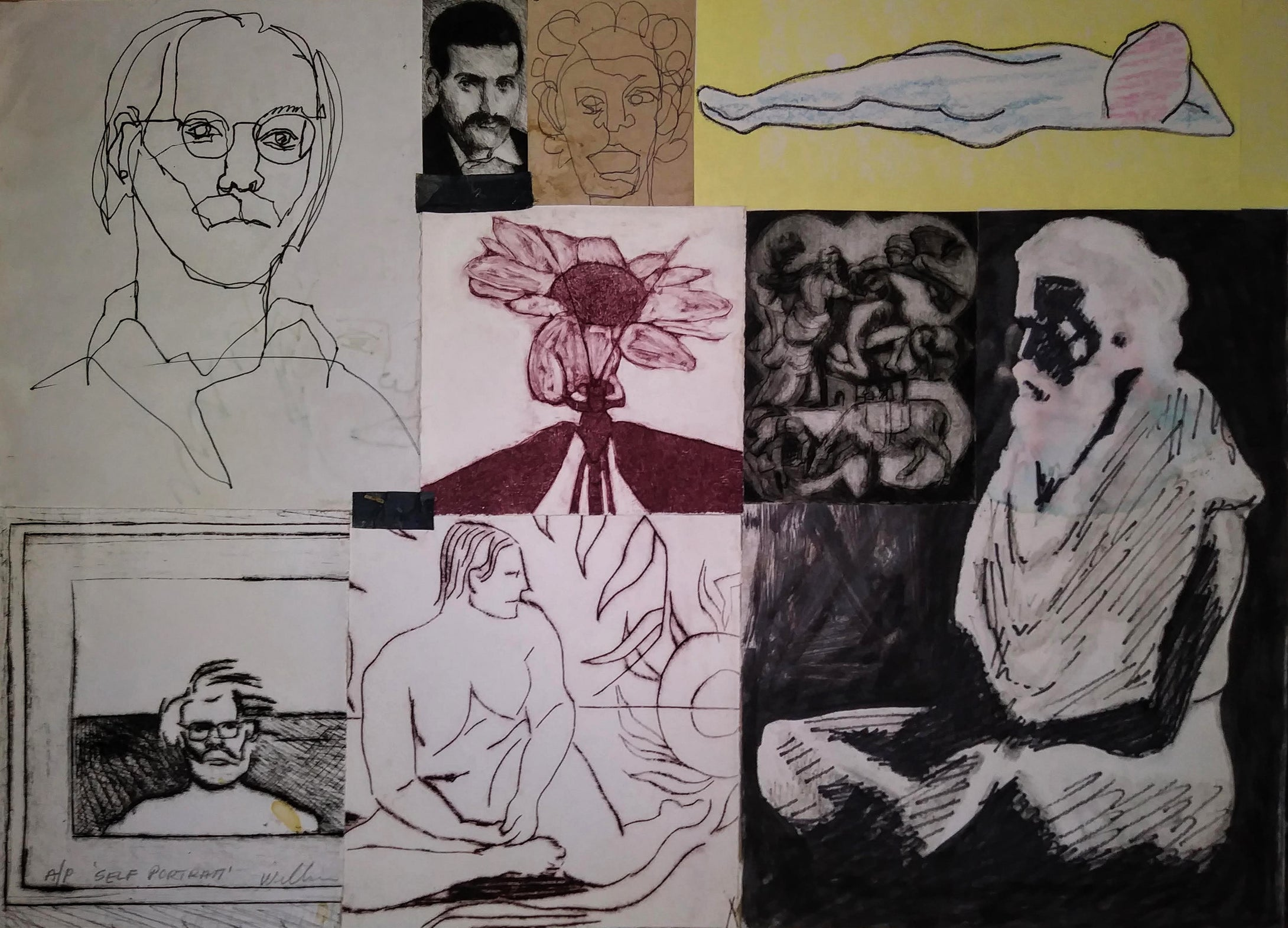 collage with original drawing, monoprint and drypoint engraving, 15