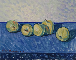 "still life #painting #fineart with apples and blue, 16""x20"", 2018"