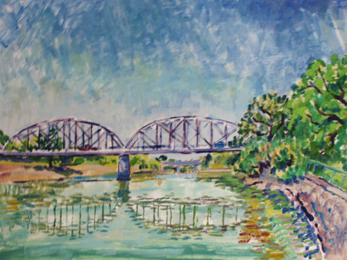 william deraymond #art #pleinair #painting 'bridge over the Russian River at Healdsburg'