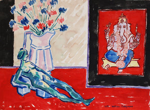 "Still Life composition with small reclining figure, 22""x30"""
