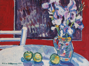 "still life composition with apples and chair, 22""x30"", 1994"