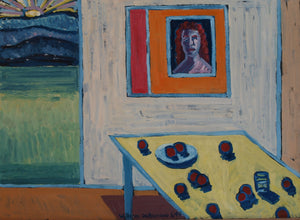"composition with imaginary portrait, 22""x30"", 1994"