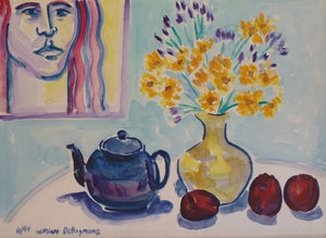 "composition with blue teapot, 22""x30"""