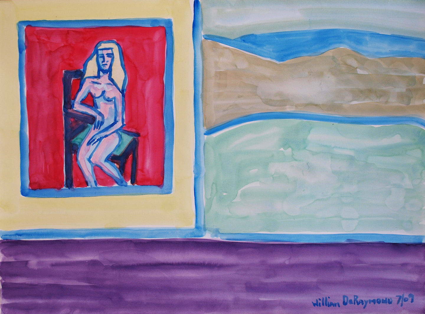 imaginary #watercolor #painting composition with figure #art, 22
