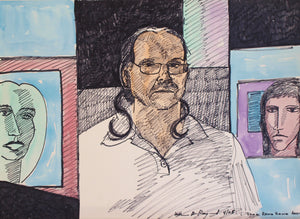 "self #portrait #painting #drawing composition 22""x30"", 2005"