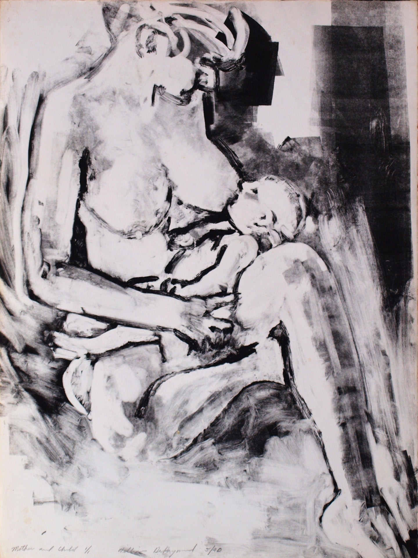 mother and child, #monoprint #printmaking #art 22