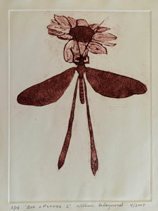 "Bugflower, 9""x12', #drypoint #engraving #fineart #printmaking"