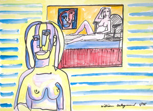 "Imaginary #Portrait #watercolor #painting and permanent marker, 22""x30"", 1995"