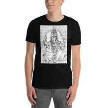 Load image into Gallery viewer, william deraymond #fineart #drawing #print of #Ganesha on a Short-Sleeve Unisex T-Shirt