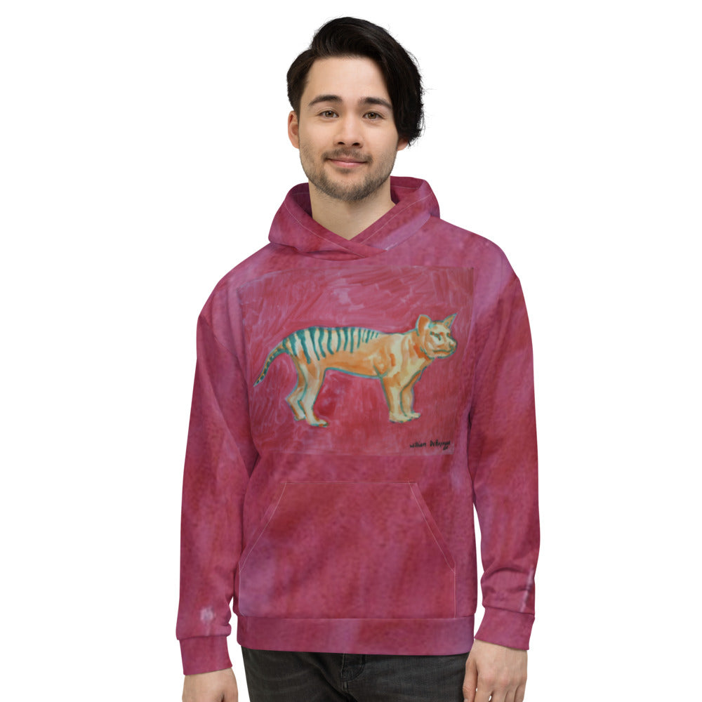 william deraymond #art #watercolor #print design of a thylacine on a Unisex Hoodie