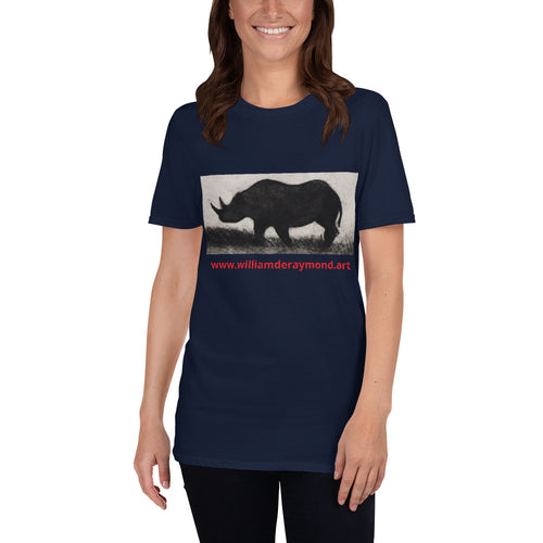 william deraymond #art #drypoint #engraving #printmaking of a #rhino #print on a Short-Sleeve Unisex T-Shirt
