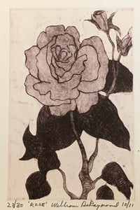 "Rose, 6""X9"", #drypoint #engraving #fineart #printmaking"