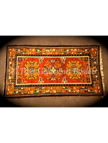 Antique Tibetan 3 medallion rug (18thC)