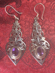 Silver Amethyst Earrings(TGSE 29)