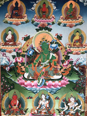 Green Tara with Twenty-One Taras Thangka (TGTH 95)