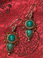 Turquoise Coral Silver Earrings(TGSE 77)