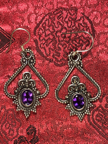 Amethyst Silver Earrings(TGSE 75)