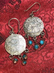 Dragon Turquoise Silver Earrings(TGSE 51)