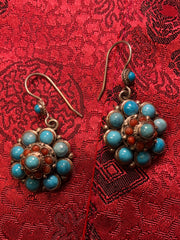 Silver Turquoise/Coral Earrings(TGSE 19)