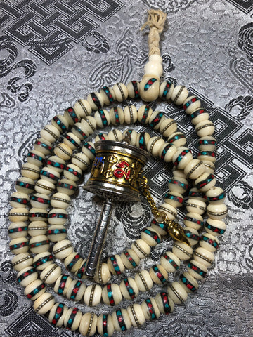 Bone inlay white Mala/Prayer Beads(TGMA 57)