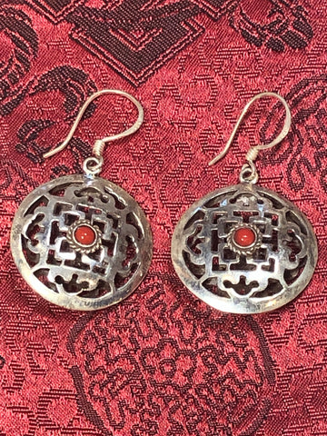 Coral Mandala Silver Earrings(TGSE 98)