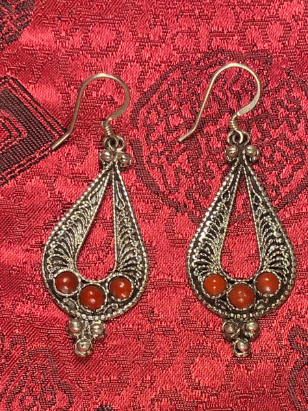 Silver coral Earrings(TGSE 76)