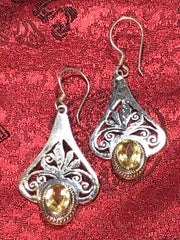 Silver Citrine Earrings(TGSE 47)