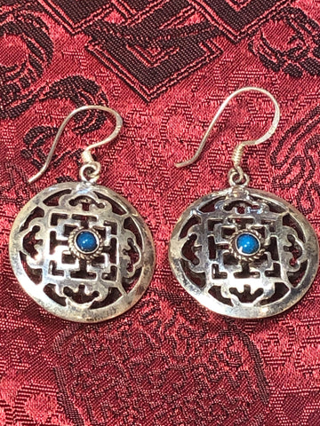 Mandala Turquoise Silver Earrings(TGSE 100)