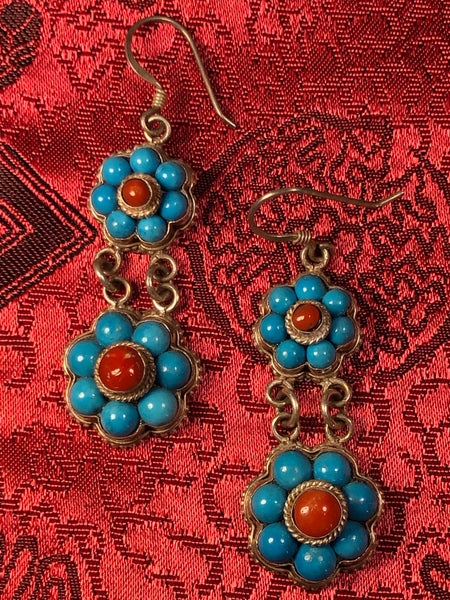 Silver Turquoise/Coral Earrings(TGSE 7)