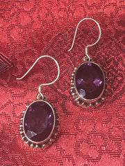 Amethyst Silver Earrings(TGSE 37)