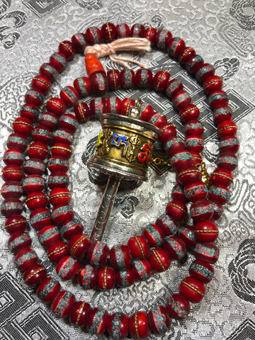Bone inlay Red Mala/Prayer Beads(TGMA 58)