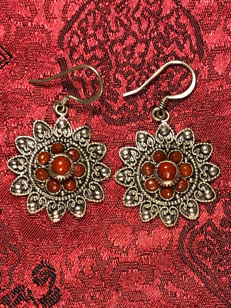 Silver Coral Earrings(TGSE 73)