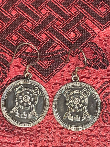 Dharma Wheel Silver Earrings(TGSE 107)