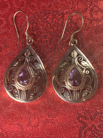 Amethyst Silver Earrings(TGSE 31)