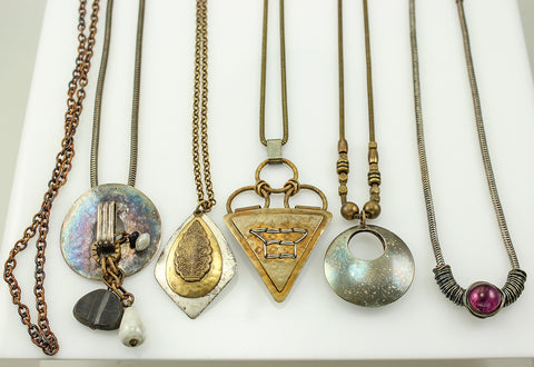 Necklaces before cleaning