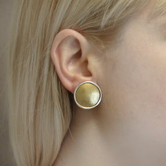 Classic button clip on in brass and sterling silver