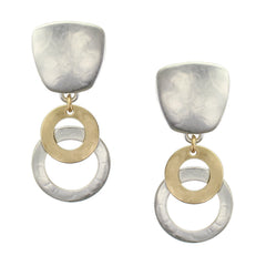 Clip on earring with mixed brass and silver overlapping rings
